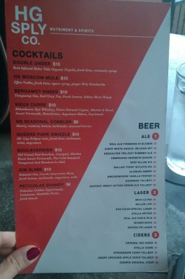 HG Sply Co Drink Menu