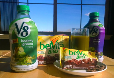Belvita Breakfast Bites and V8 Veggie Blends