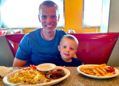 Adam and Son at Greek Diner