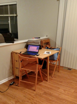 Makeshift Desk in Kitchen