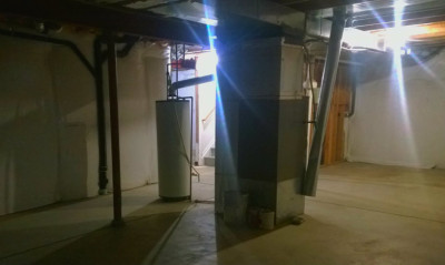 My Basement with Old Furnace and Water Heater