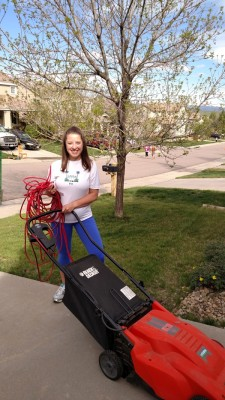 Laura with Lawnmower