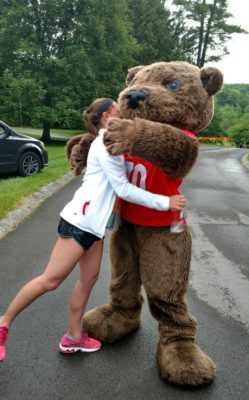 Laura_Hugging_Touchdown_Bear_At_Cornell_Reunion_5K